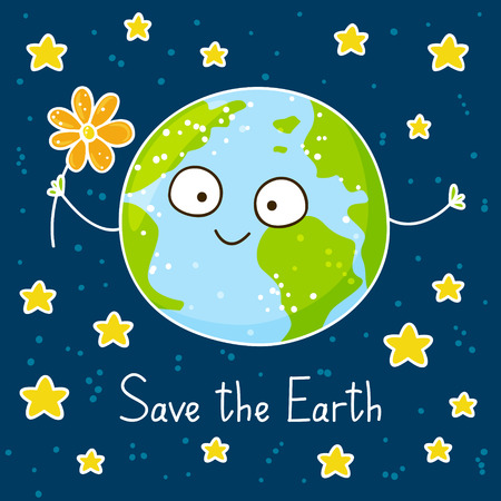 space science: Cute cartoon Earth on space background Illustration