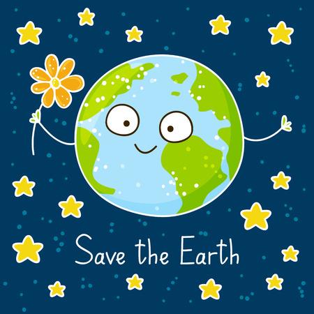 cartoon globe: Cute cartoon Earth on space background Illustration