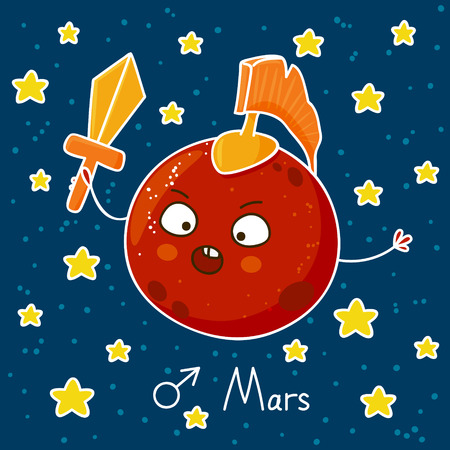 Cute cartoon Mars on space background Ilustração