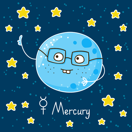 space cartoon: Cute cartoon Mercury on space background Illustration