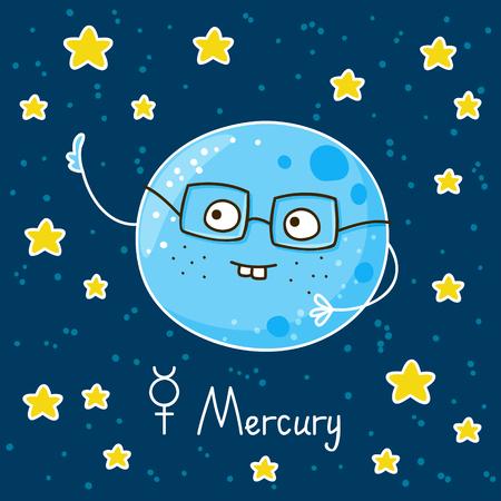 Leuke cartoon Mercury op ruimte achtergrond