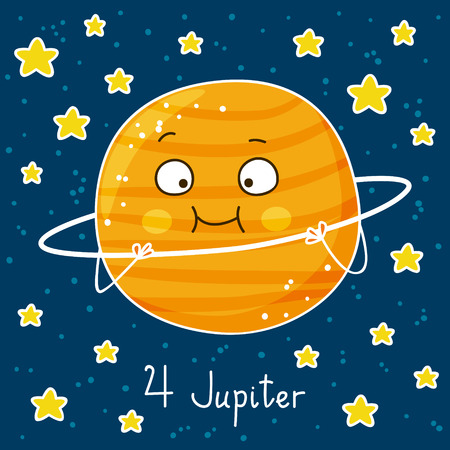 jupiter: Cute cartoon Jupiter on space background Illustration
