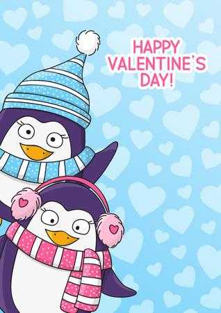 winter vector: Valentines day card with cute penguins