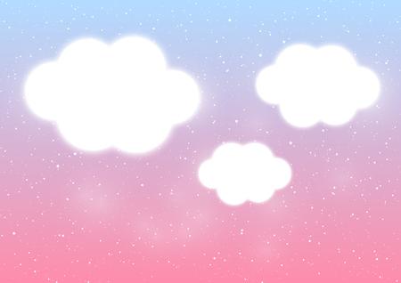Shiny clouds on blue and pink background Ilustração