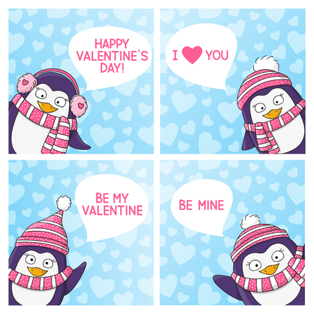chill: Set of Valentines day cards Illustration