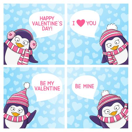 love message: Set of Valentines day cards Illustration