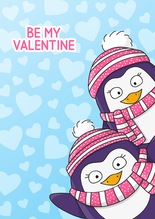 couple nature: Valentines day card with cute penguins