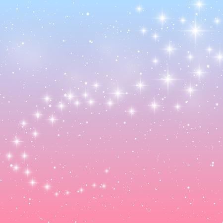 estrellas brillantes sobre fondo azul y rosa