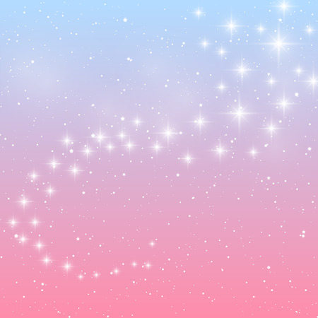 Shiny stars on blue and pink background