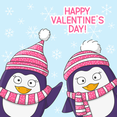 warm clothing: Valentines day card with cute penguins