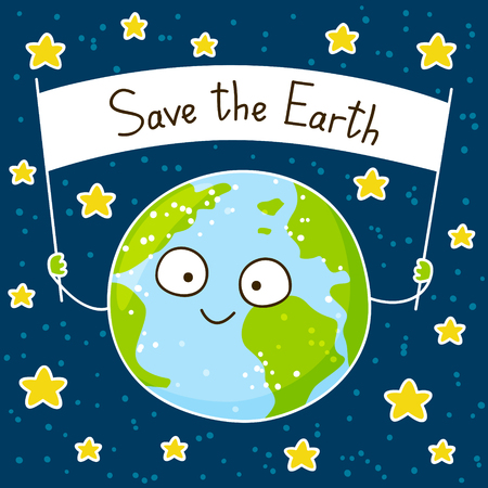 space cartoon: Cute cartoon Earth on space background Illustration