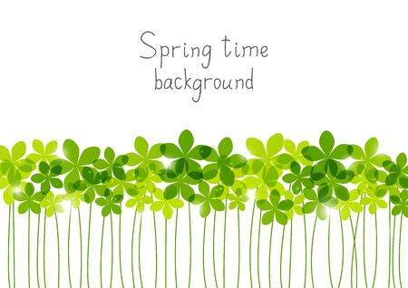 borde de flores: Green floral border for Your design Vectores