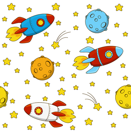 fly cartoon: Seamless pattern with color rockets