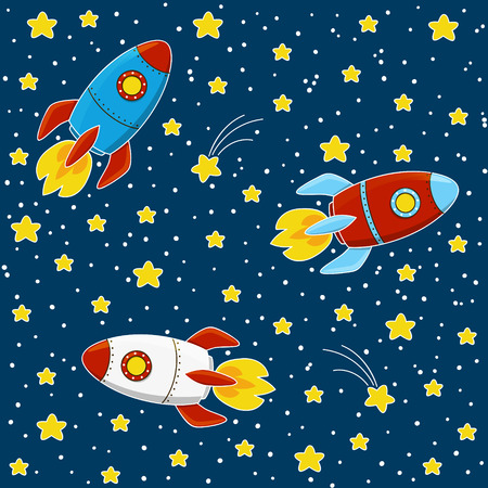 cartoon space: Cartoon rockets on space background Illustration