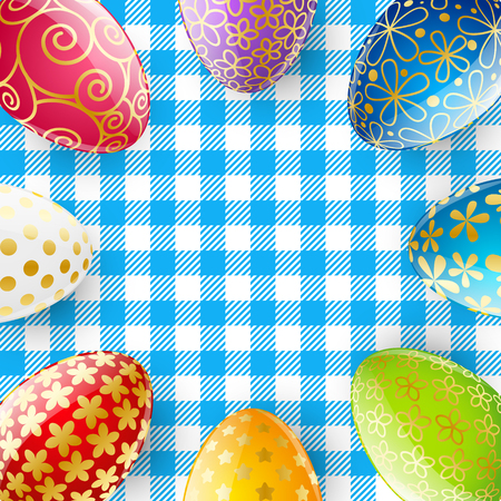 a tablecloth: Color Easter eggs on the tablecloth