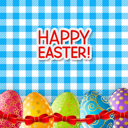 a tablecloth: Easter eggs on the tablecloth Illustration