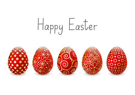 golden egg: Easter eggs on white background