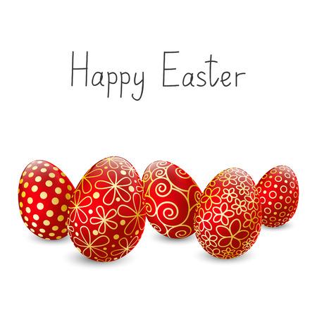 Los huevos de Pascua en el fondo blanco