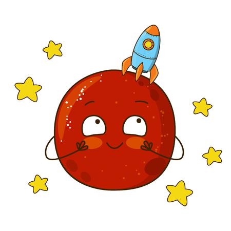shapes cartoon: Cute cartoon Mars with rocket