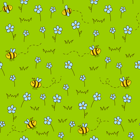 buzz: Seamless pattern with green meadow