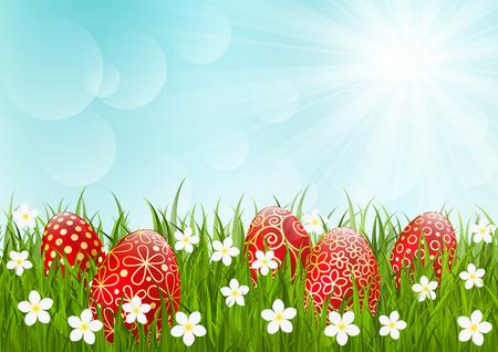 sun flower: Red Easter eggs on green grass