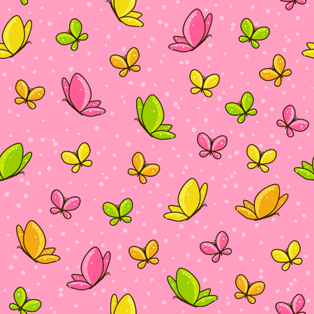 pink backgrounds: Seamless pattern with color butterflies Illustration