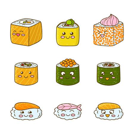 cute animal cartoon: Set of funny sushi and rolls
