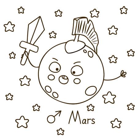 estrella caricatura: Dibujo animado lindo de Marte para colorear