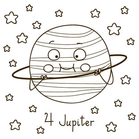 cute cartoon: Cute cartoon Jupiter for coloring book