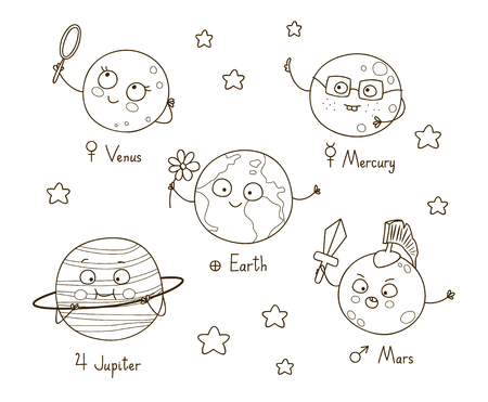 jupiter: Cute cartoon planets for coloring book