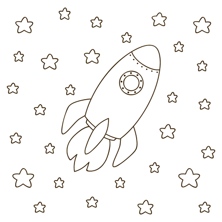 cohetes: cohete de la historieta para libro para colorear