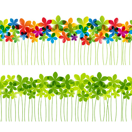abstract backgrounds: Set of seamless floral borders for Your design Stock Photo