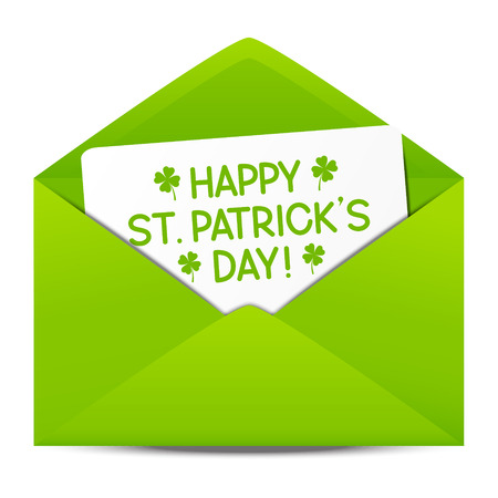 irish culture: Paper envelope with Patrick day message