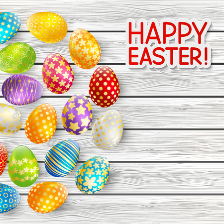 colour image: Easter greeting card with color eggs