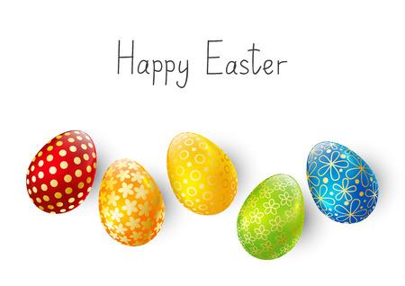 Color Easter eggs on white background Zdjęcie Seryjne - 52537638