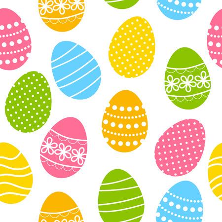 huevos de pascua: Modelo inconsútil con los huevos de Pascua de color