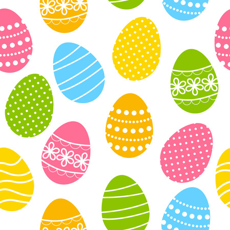 Seamless pattern with color Easter eggs