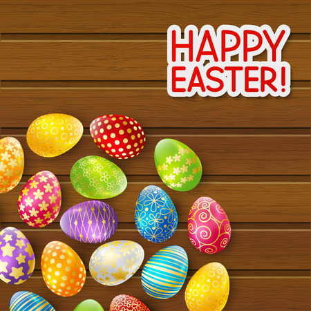 easter eggs: Easter greeting card with color eggs