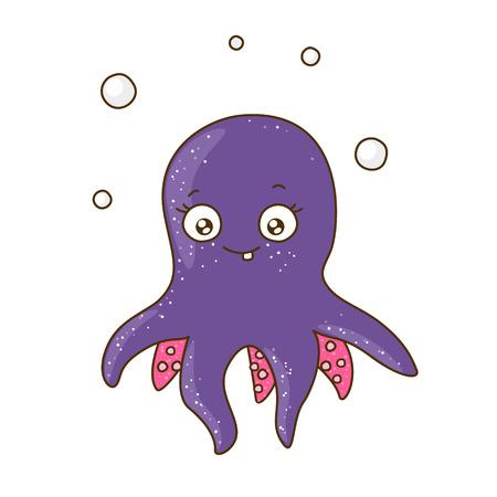 cute animal cartoon: Cute cartoon octopus isolated on white