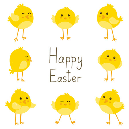 animals frame: Easter card with cute chickens