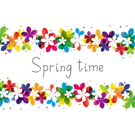 あなたのテキストのための場所が付いている春花ボーダー