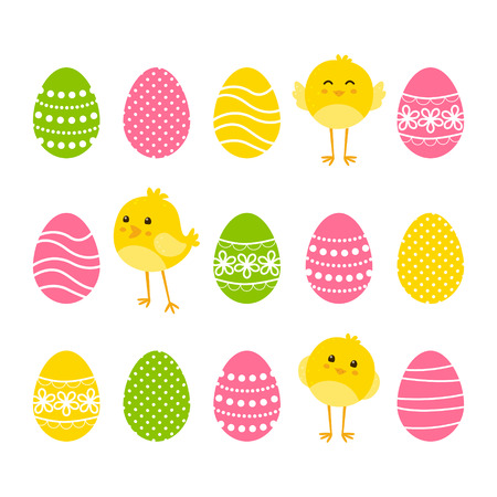 isolated animal: Set of Easter borders with eggs and chickens