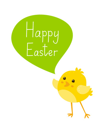 easter message: Cute cartoon chicken with Easter message