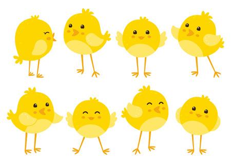 animales de granja: Conjunto de pollos de dibujos animados lindo Vectores