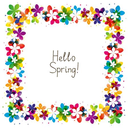 あなたのテキストのための場所と春花のフレーム