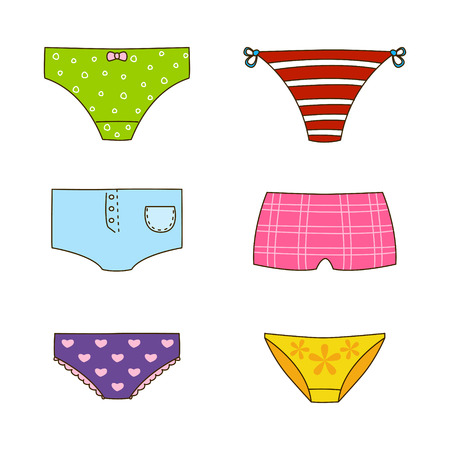 knickers: Set of cute color panties Illustration
