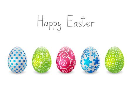 huevos de pascua: Huevos de color de Pascua en blanco Vectores