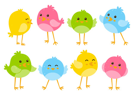 Set of cute cartoon birds Illustration