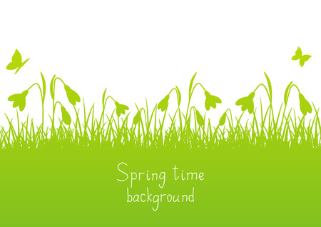 snowdrop: Spring background with snowdrop silhouettes