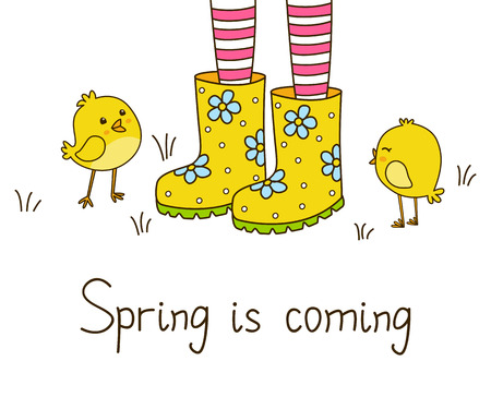 gumboots: Spring greeting card with color rubber boots Illustration